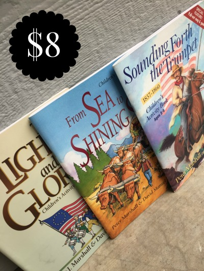 LIGHT & THE GLORY, SEA TO SHINING SEA, SOUNDING THE TRUMPET ACTIVITY BOOK SET -$8