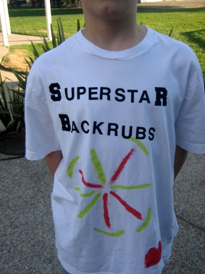 13-year-old brother made a t-shirt for 11-year-old brother's in-house backrub busines s