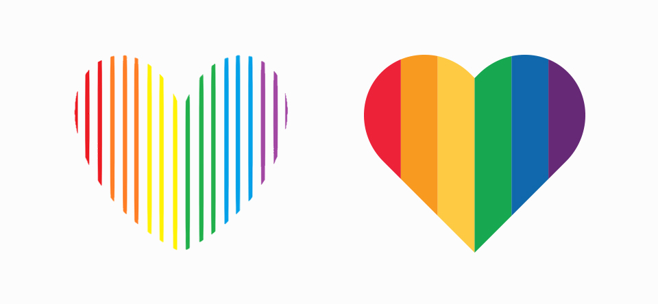 Since its inception, Courage's heart logo (left) has been synonymous with the organization. Instead of starting from scratch, I refined the shape and filled the mark with solid band for better visibility (right).