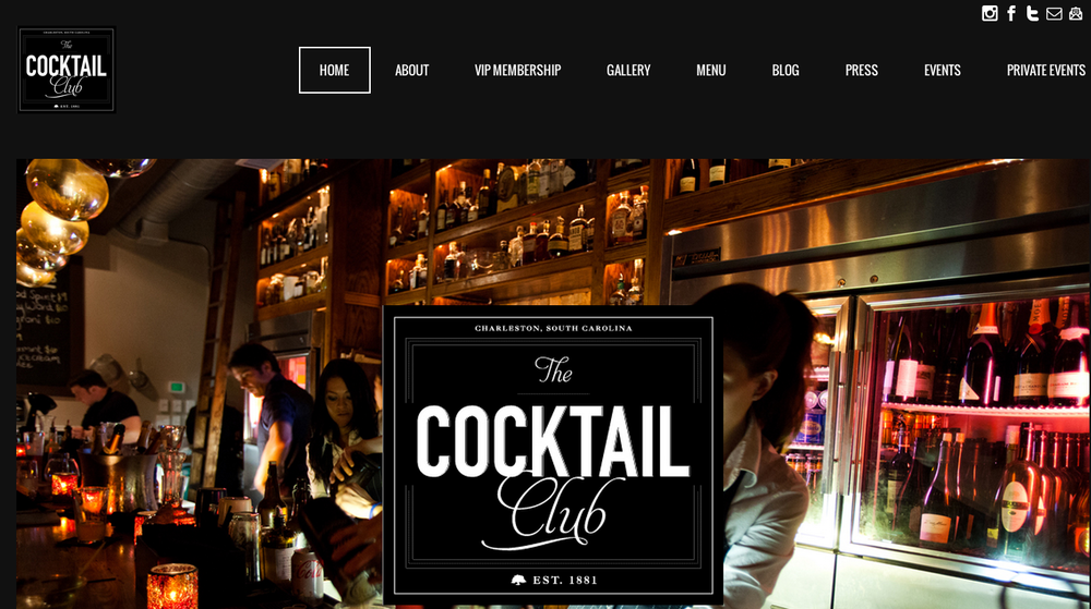Website Design: The Cocktail Club, Charleston, SC