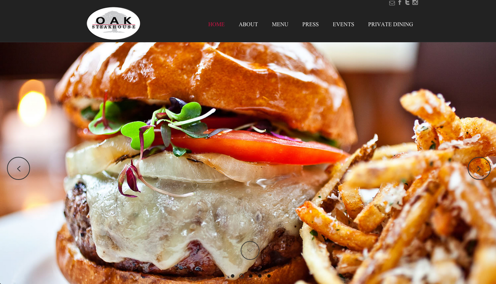Website Design: Oak Steakhouse, Charleston, SC