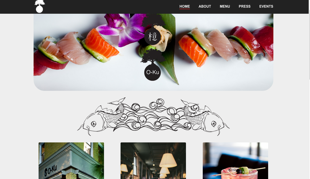 Website Design: O-Ku Sushi, Charleston, SC