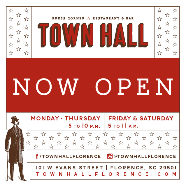 Town Hall - Now Open Graphic