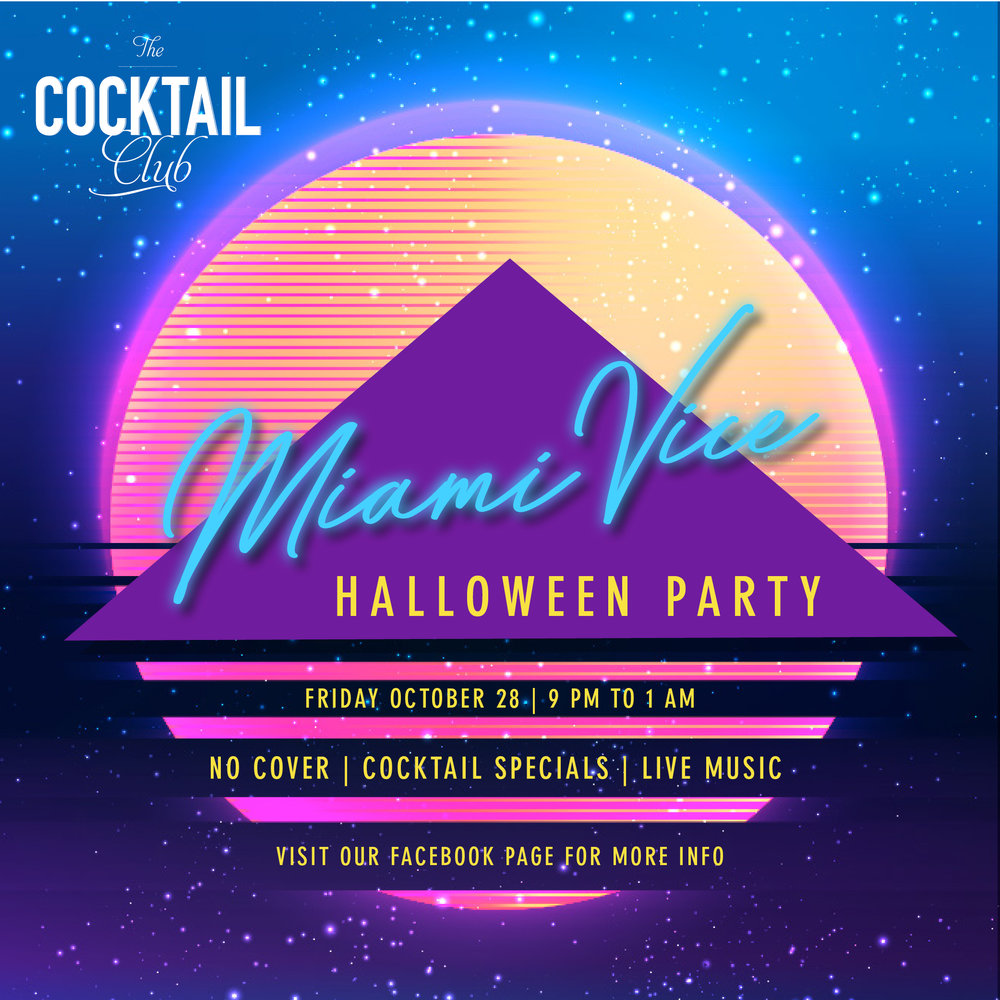The Cocktail Club - Miami Vice Halloween Party Graphic