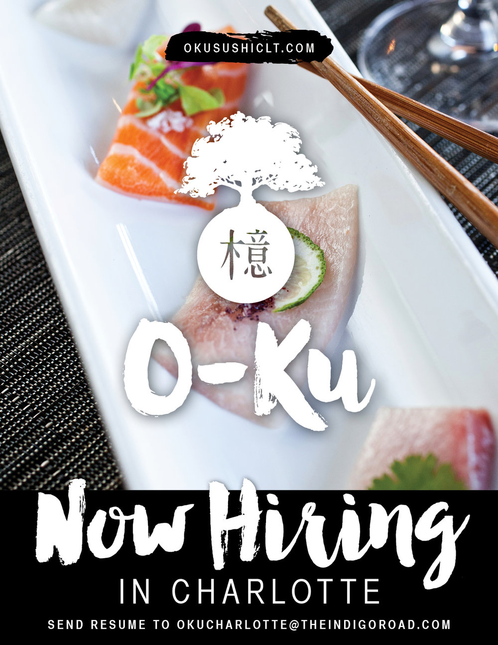 O-Ku Charlotte - Now Hiring Graphic
