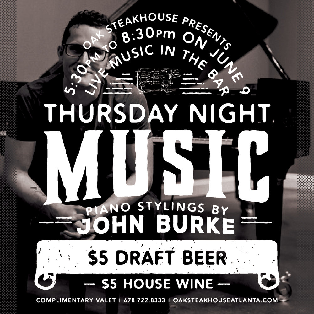 Oak Steakhouse - Thursday Night Music Graphic