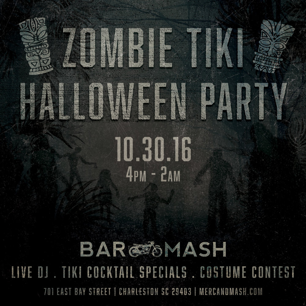Bar Mash - Zombie Tiki Halloween Graphic