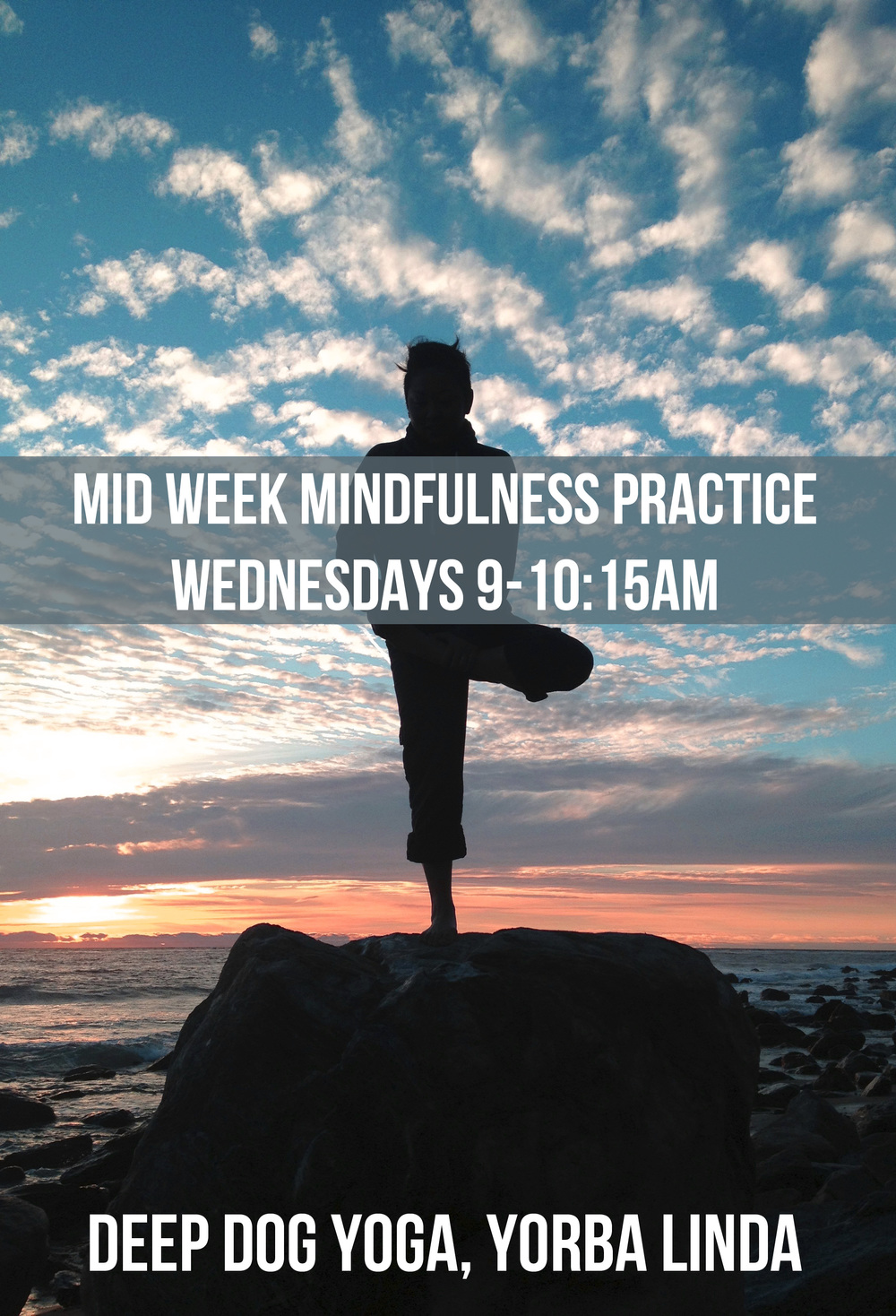 Take a breath to make it through the week. Join us for a midweek mindfulness practice Wednesdays from 9:00am-10:15am at Deep Dog Yoga.
