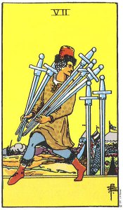 7 of Swords from the Rider Waite Smith deck.