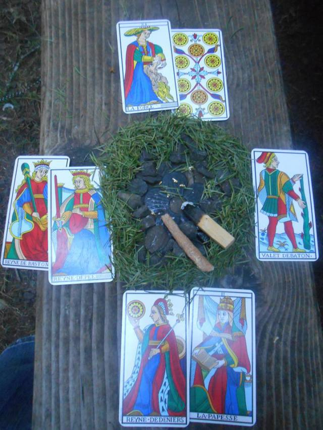 "Reader-Submitted ""4 Directions Spread,"" using the Marseilles Tarot deck"