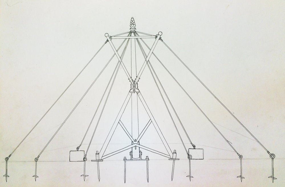 A skeleton drawing of how the shade structure will attach to the light pole