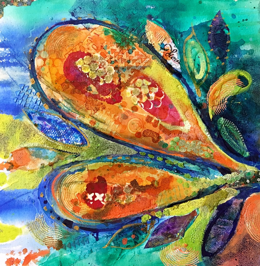 contemporary painting acrylic in layers with collage resin w