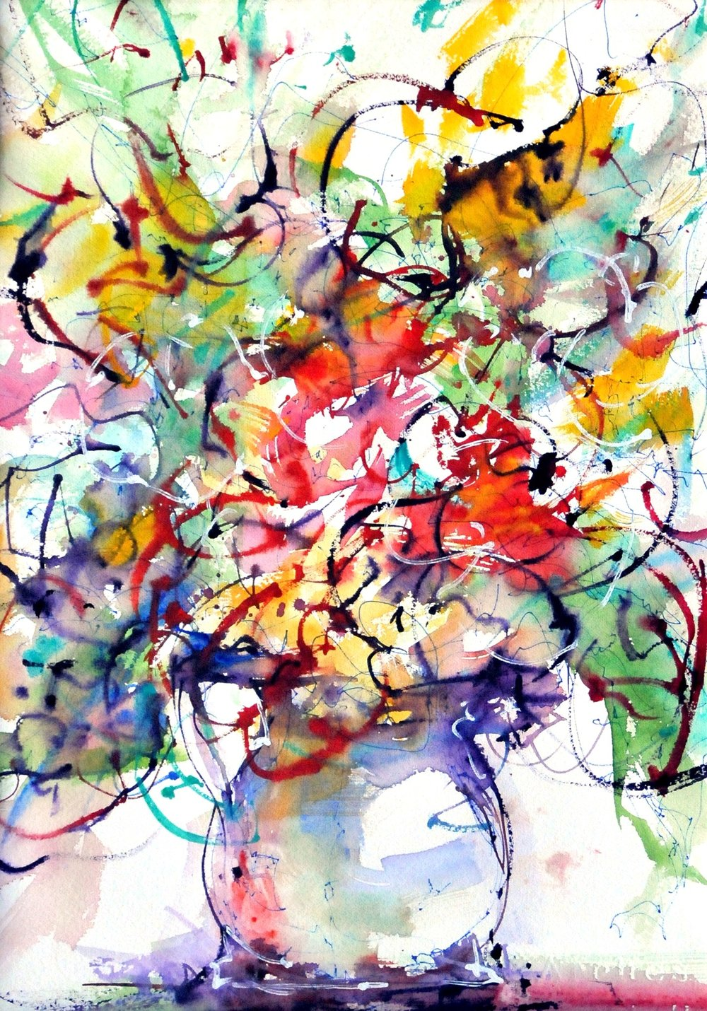 MacKechnie, flower abstraction 7, ink and watercolor, 16x12.jpg