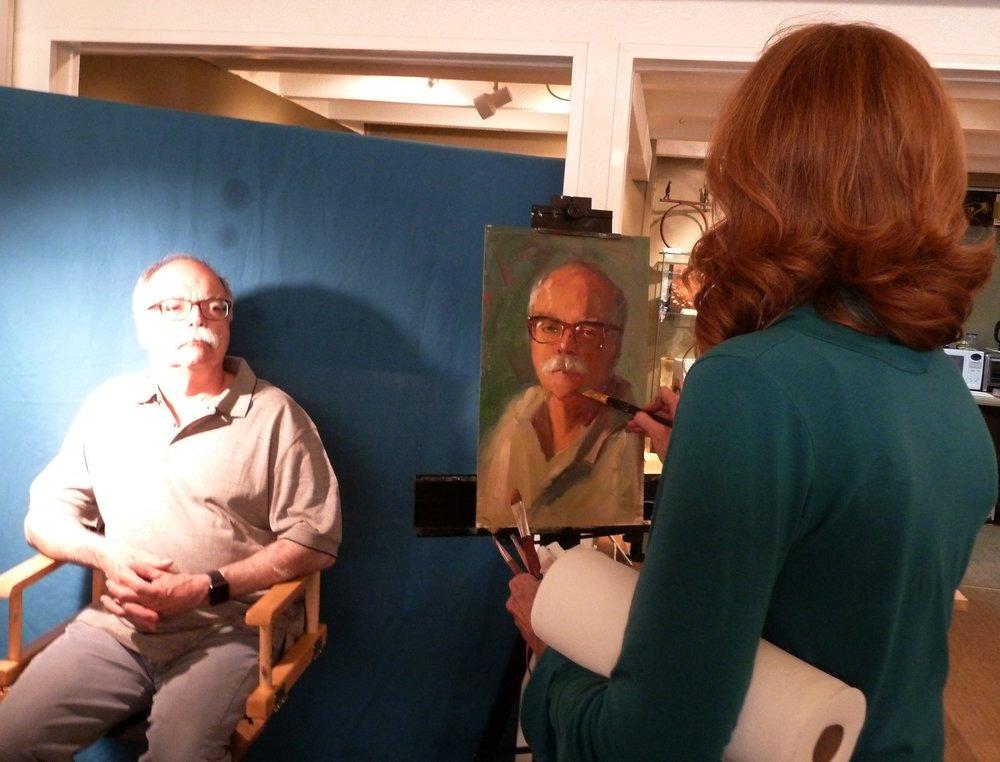 Pam painting Bob.JPG