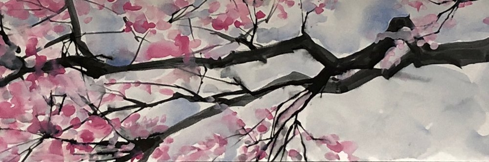 Cherry Blossoms-Sumi with straw and watercolor and tempura.jpeg