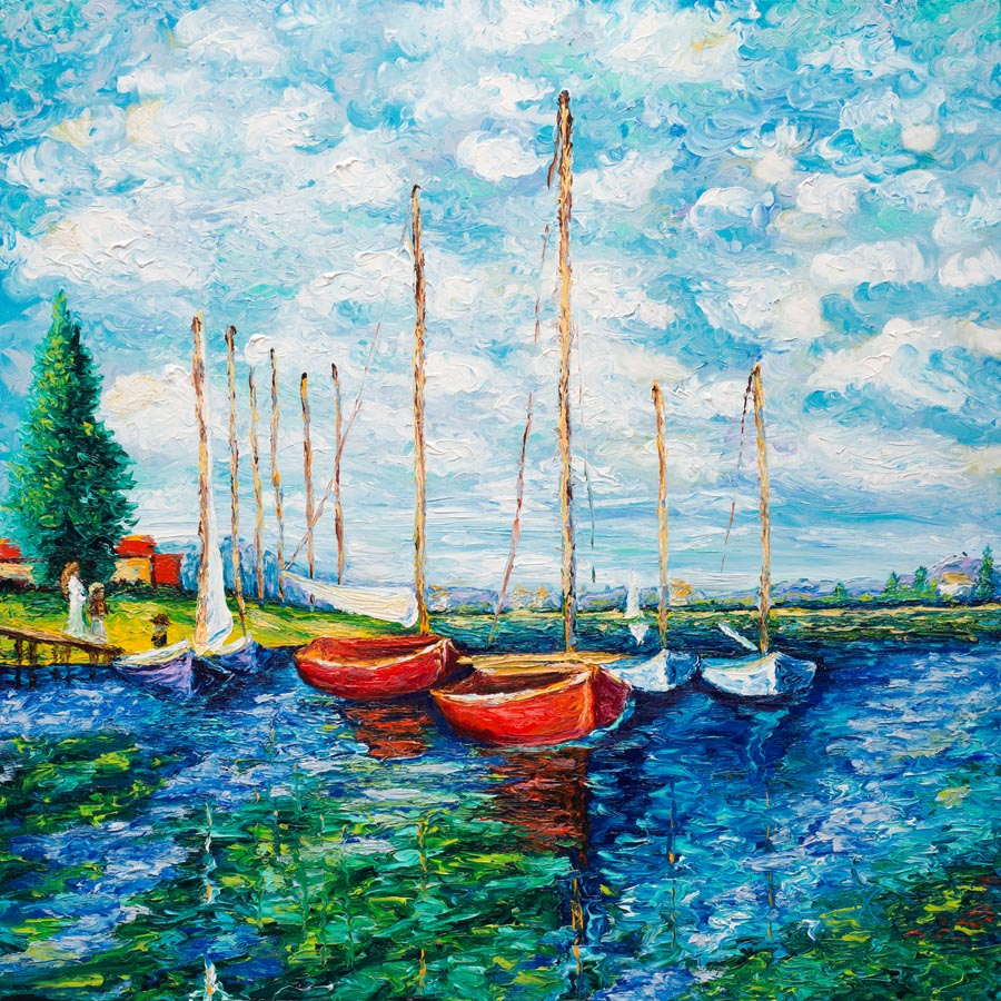 Kimberly Adams_Monet Red Boats_Oil_36x36_1995.jpg