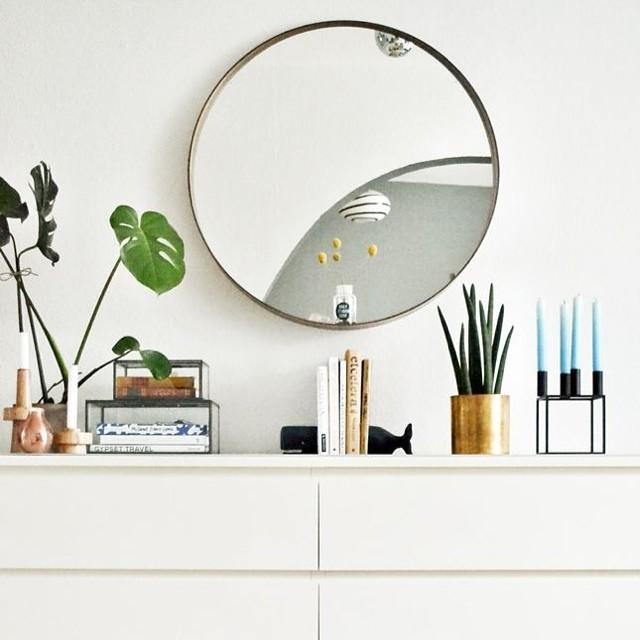 Mirror mirror, get in my house. #mirror #decor #design #interior #decoration #interiordesign #styling #home #style #sideboard #foliage #vase #candles