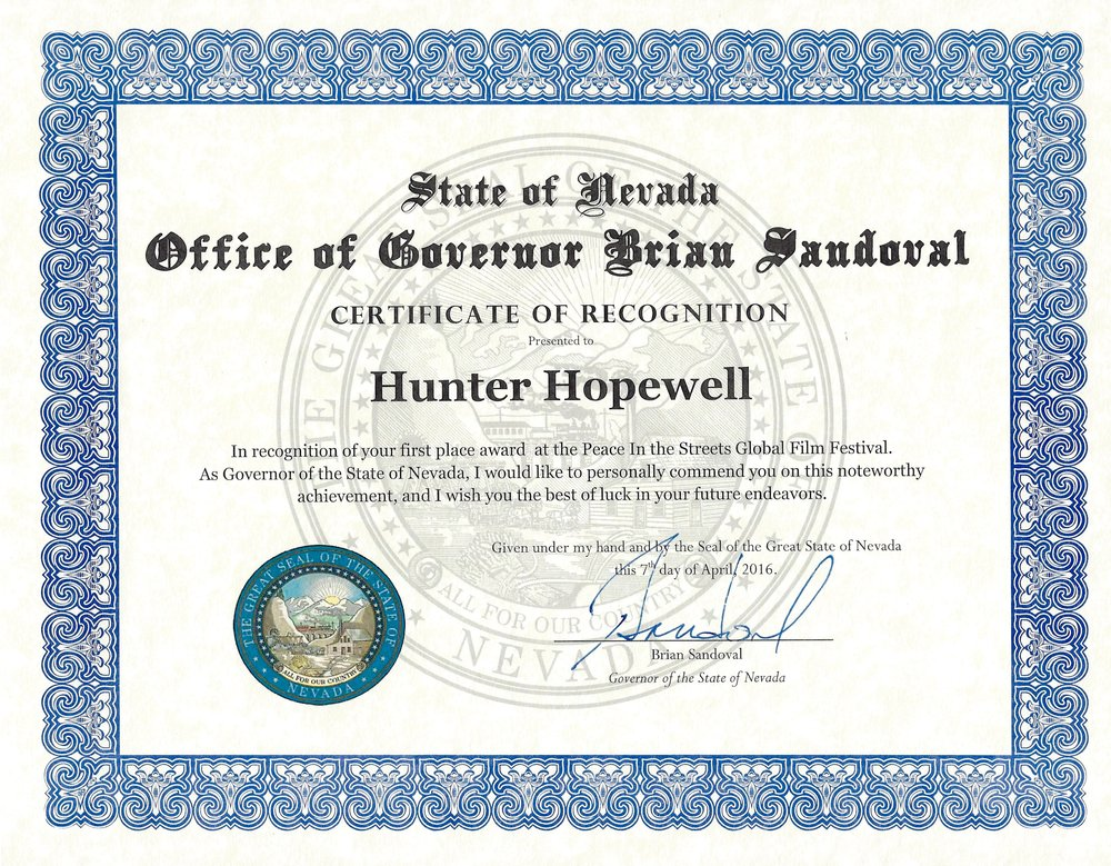 Governor Brian Sandoval - Certificate of Recognition (1).jpg