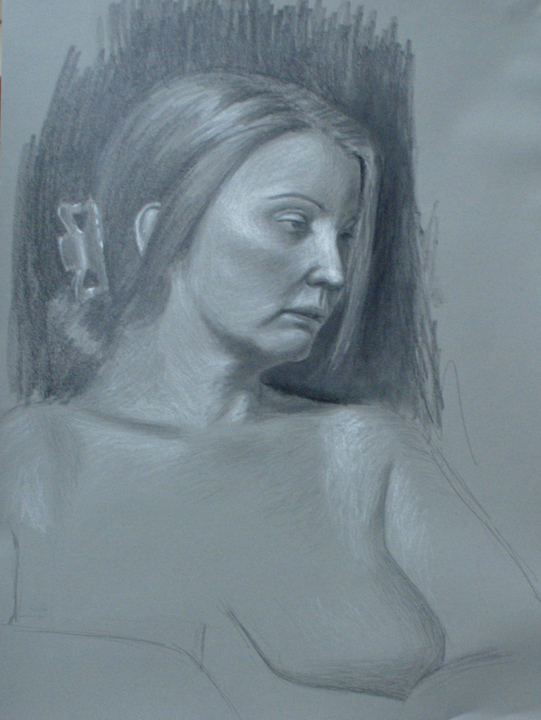 David Merrique- Anatomy and Figure Drawing II- Charcoal and white chalk on paper. 18 x 24 in.