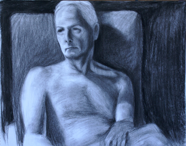 David Merrique- Anatomy and Figure Drawing II- Charcoal and white compressed conte crayon on paper