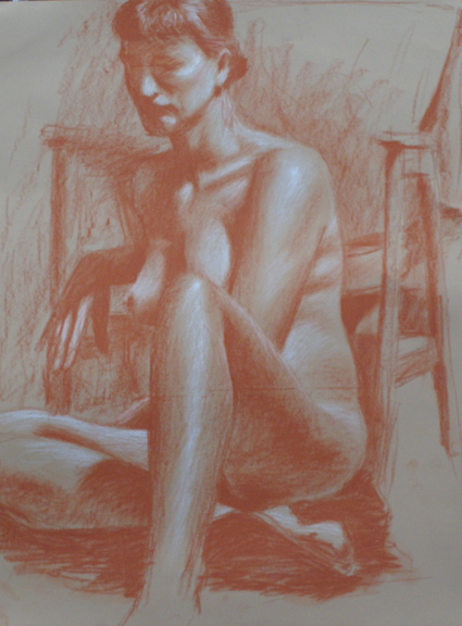 David merrique- Anatomy and Figure Drawing II. Sanguine conte on paper. 18 x 24 in.