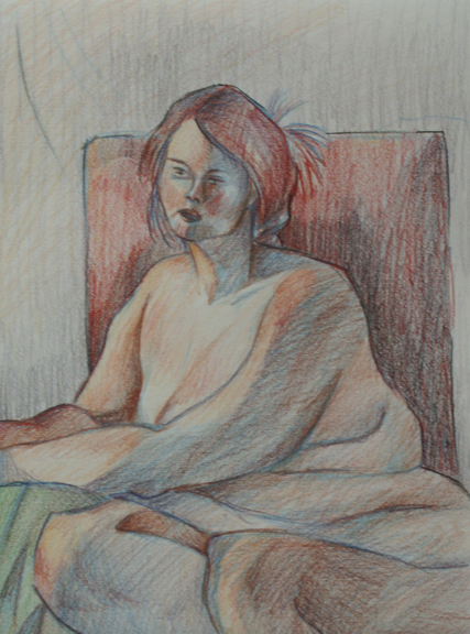 Gabriella D'Abreau- Anatomy and Figure Drawing II- Charcoal and color pencil on paper. 18 x 24 inc.