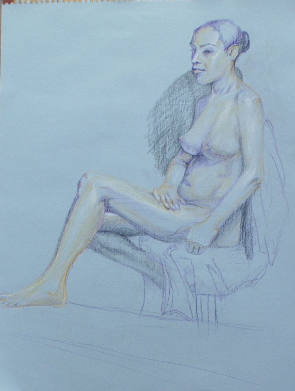 Orlando Rodriguez. Anatomy and Figure Drawing II. Color pencil, marker, graphite on toned paper. 18 x 24 in.