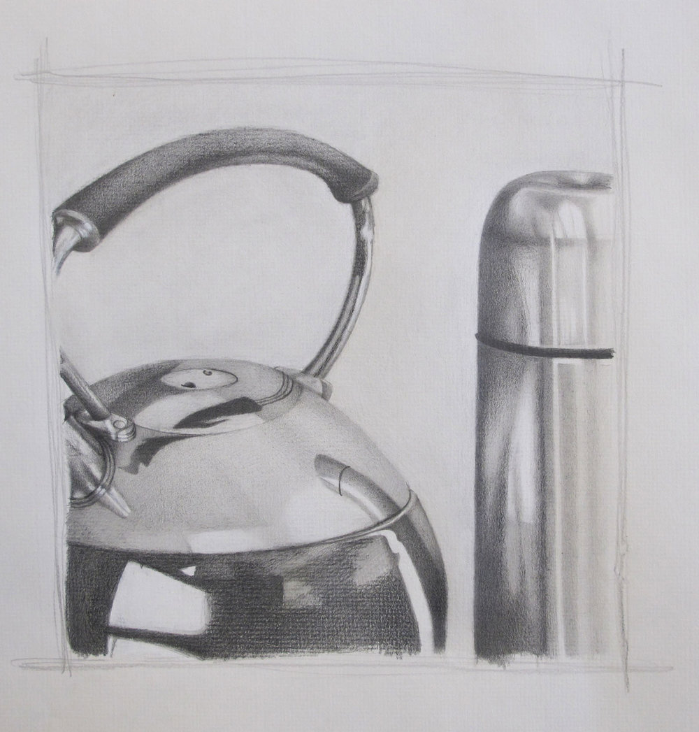 Arislenny Corcino. Drawing II. Stil life drawing- charcoal graphite on paper.