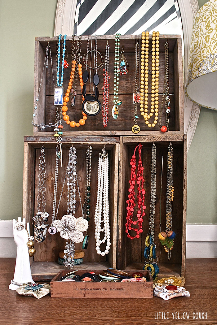 Quick Idea Wooden Crate Jewelry Display Little Yellow Couch