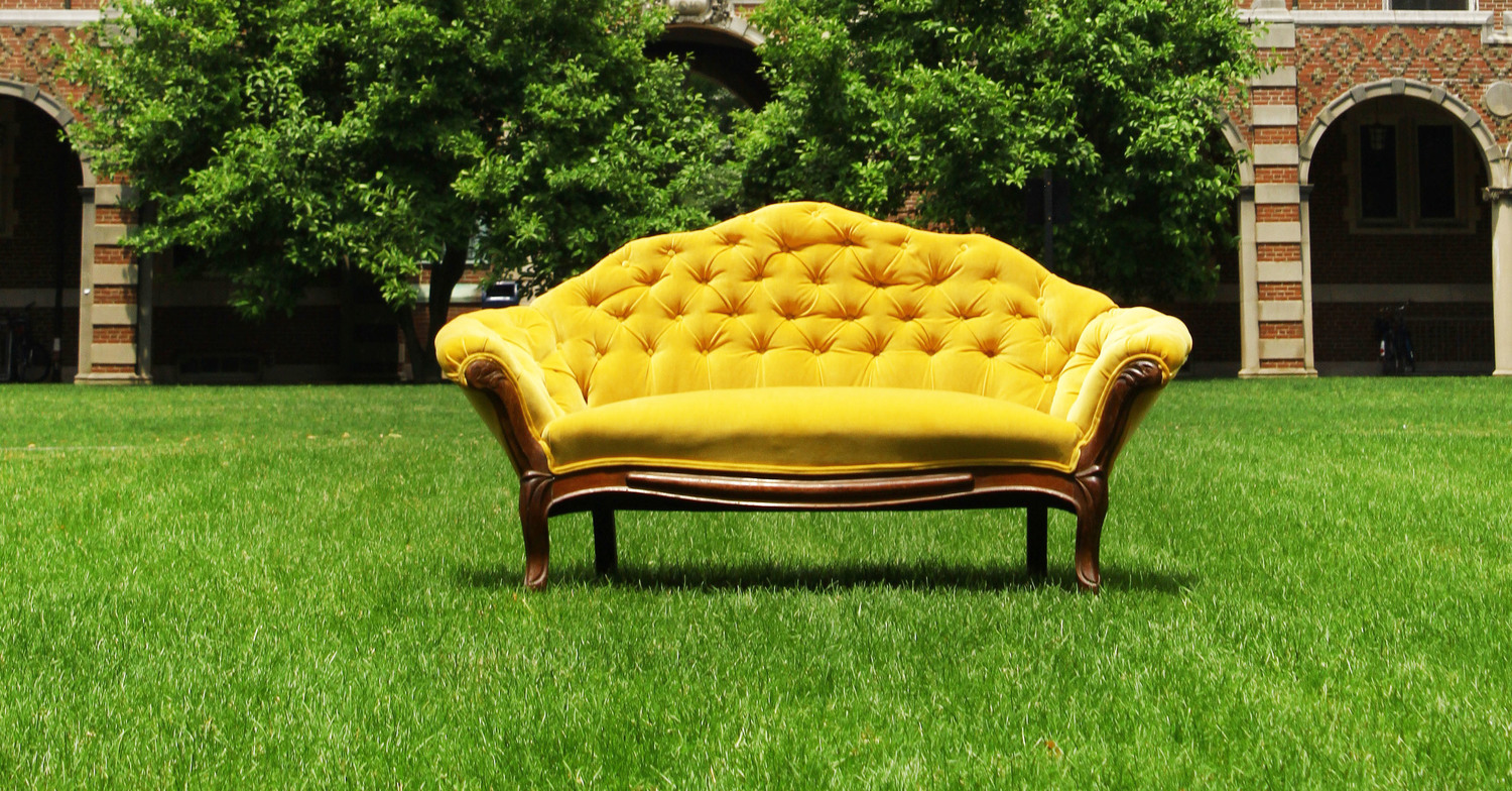 flora fauna in the living room - Yellow Couch