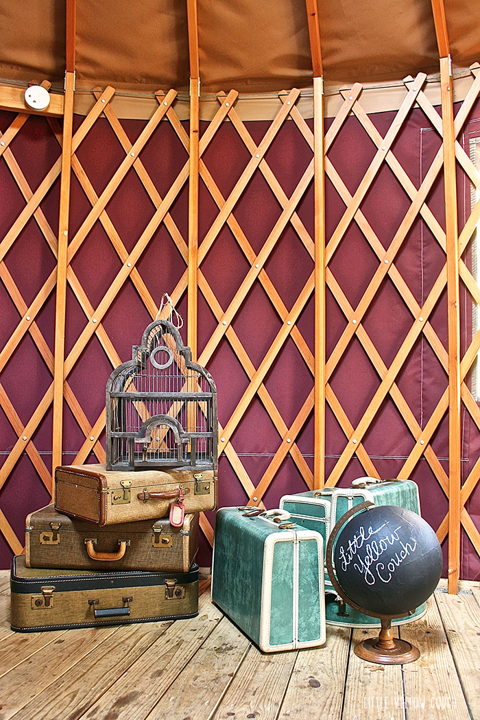 If you know us, you won't be surprised that we brought our vintage luggage glamping.