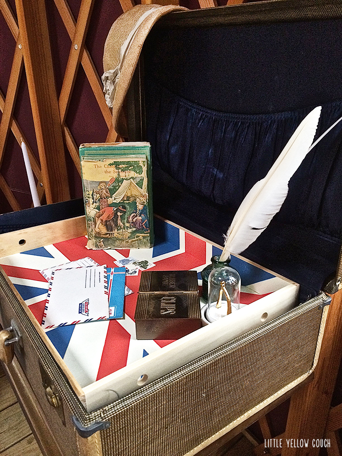Portable writing desk: folding TV table, vintage suitcase, serving tray.