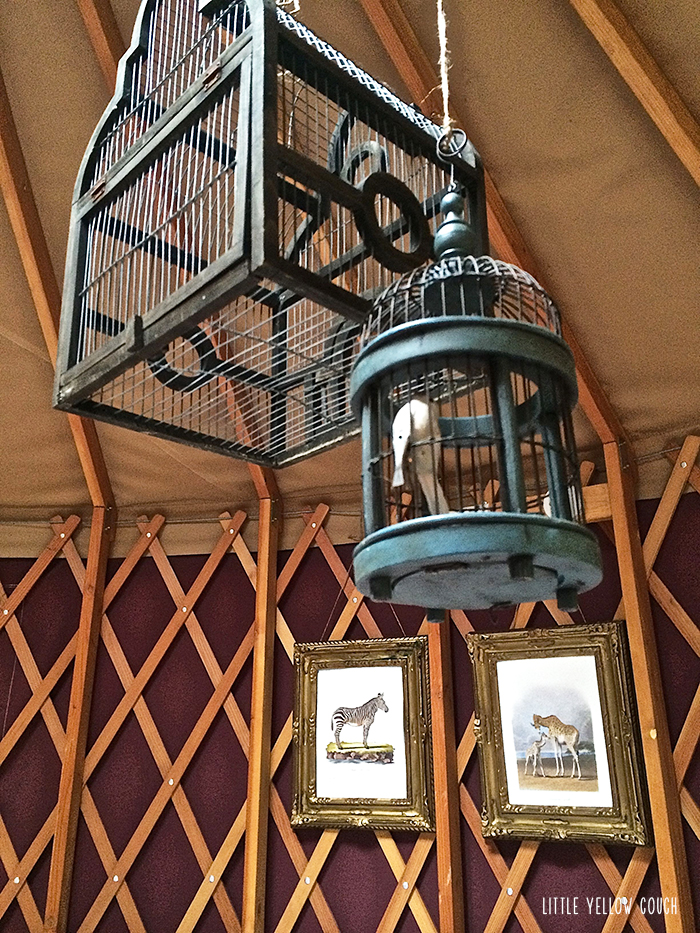 Hanging birdcages and artwork seemed important.  Or ridiculous.  Either way, they made us happy.