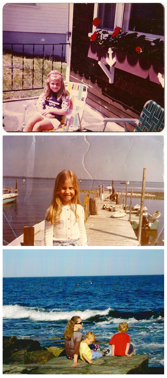 Zandra in front of her grandparents' cottage; Zandra on fishing pier:  Zandra on the rocks with her sons, Quinn & Calvin