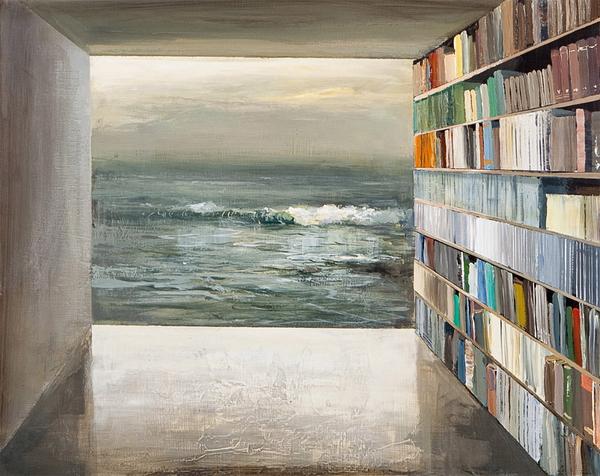 """Book Shelter,"" by Jeremy Miranda. Acrylic, $400 through Sebastian Foster."