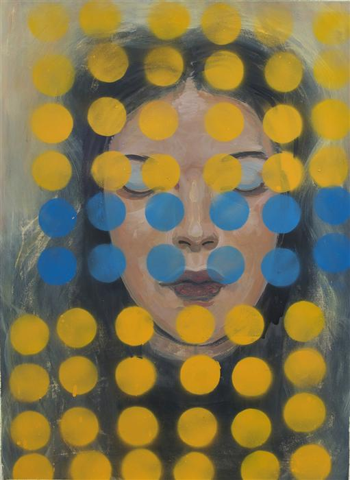 """""""Yellow Dots,"""" by Stephen Poling. Acrylic, $1700 through U Gallery."""