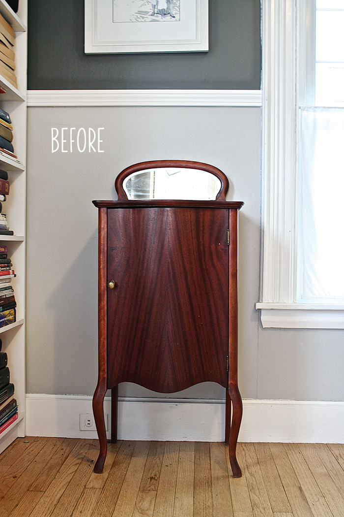 This Little Beauty Started Out As A Record Cabinet. To Transform It Into A  Bar, We First Removed The Door And The Back Panel. We Covered The Back  Panel With ...