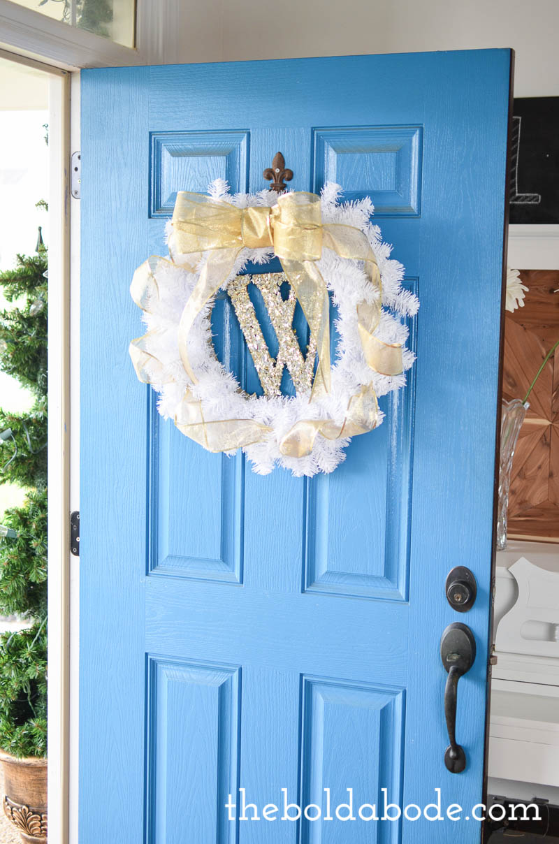 Gwen's white wreath on her gorgeous blue door.