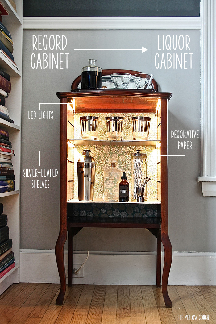 Before & After:  record cabinet to liquor cabinet