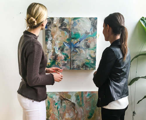 Artist Natalia Wrobel (left) talks with gallerist Abigail Ogilvy (right).  We talked with Abigail about what it's like to own a gallery on the podcast.