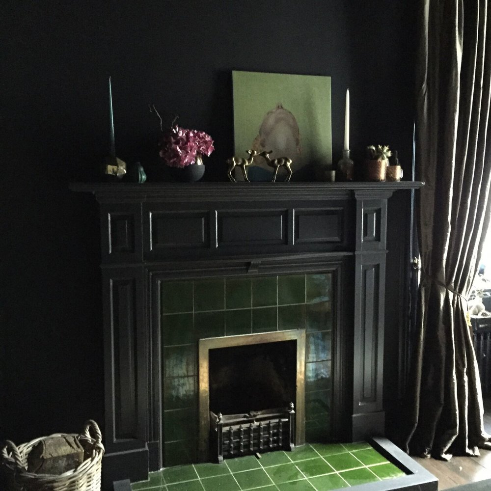Curious Egg Dining Room Fireplace with Original Victorian Tiles