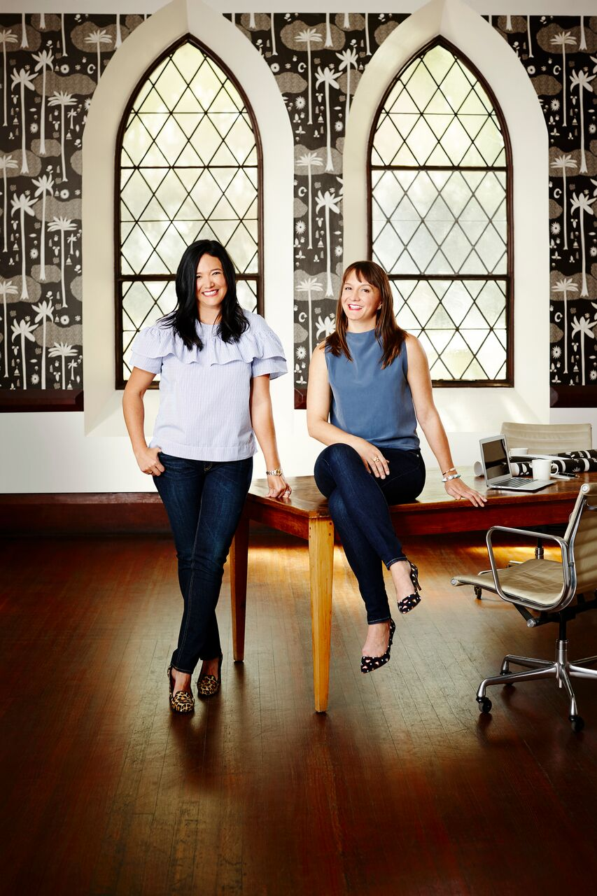 Wallpaper is to design... - ...what frosting is to cake.  In other words, an essential component of the good life!  I have been a fan of Hygge & West wallpaper for years and am so thrilled to finally get to met the women behind the brand, Aimee Lagos (left) and Christiana Coop.  Recently, the've expanded into printing some of their wallpaper lines onto fabric AND they've just written their first book called,