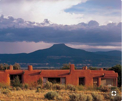 From Georgia O'Keefe's Ghost Ranch, outside Santa Fe, NM. Photo by  Architectural Digest .