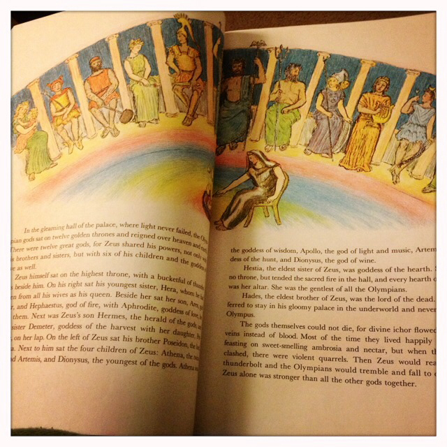 The rainbow flooring of Mount Olympus and all the major gods and goddesses seated for my review and memorization as a kid.