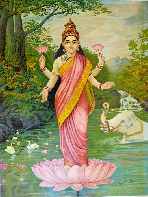 Oil painting of goddess Lakshmi by Raja Ravi Varma