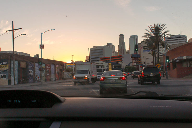 Phase 3: Cityscapes at sunset. Ignore the traffic and dashboard.