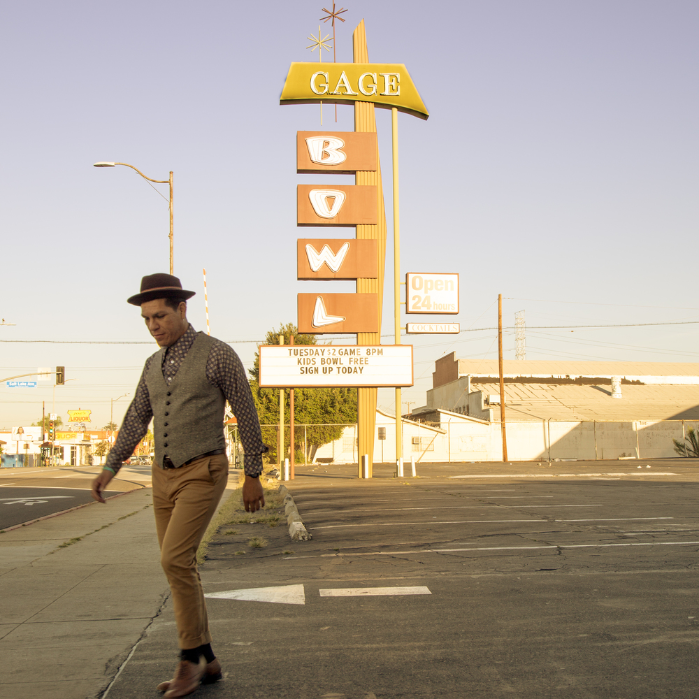 Hector Flores in front of Gage Bowl in Huntington Park.