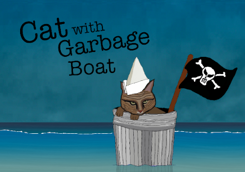 500 cat with garbage boat.png