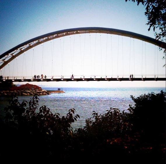 Humber Bay Arch Bridge - aka the Turtle Bridge. You have to go to see why.