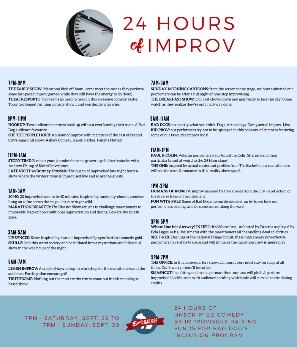 24 Hours Of Improv Bad Dog Theatre Company Circuit In Parallel The Same Way As What Many People Usually Do Nuit Blanche Edition